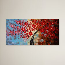 'Bouquet of Textured Red' Painting on Wrapped Canvas