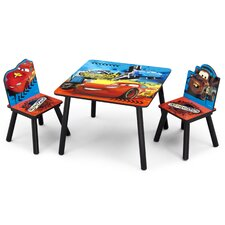 Cars Children 3 Piece Square Table and Chair Set