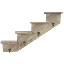Wooden Stepped Shelf to Right Wall Mounted Hook Rack