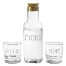 Tarragon Yours Mine Ours 3 Piece Carafe Set