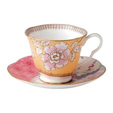 Butterfly Bloom Floral Bouquet Cup and Saucer (Set of 2)