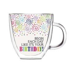 """Birthday"" 12 oz. DW Glass Coffee Cup"