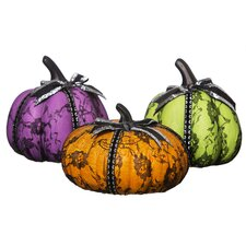 Day of the Dead 3 Piece Ceramic Pumpkin Figurine Set