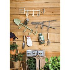 3 Piece Metal Garden Tool Wall Hook Set