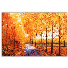 Autumn Trees and Leafs Painting Print on Wrapped Canvas