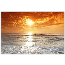 Sunset Over Ocean and Clouds Photographic Print on Wrapped Canvas