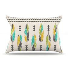 Painted Feathers Cream by Amanda Lane Tribal Cotton Pillow Sham