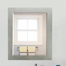Brushed Silver Beveled Wall Mirror