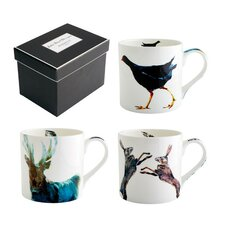 Julie Steel Designs 3 Piece Bone China Mug Set