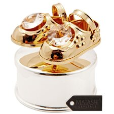24K Gold & Silver Plated Jewelry Box with Crystal Studded Baby Shoes