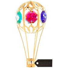 24K Gold Plated Crystal Studded Hot Air Balloon Ornament