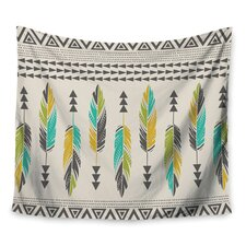Painted Feathers Cream by Amanda Lane Wall Tapestry