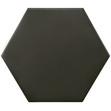 "Hexitile 7"" x 8"" Porcelain Field Tile in Matte Black"