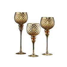 Quilted 3 Piece Glass Hurricane Set