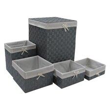 5 Piece Laundry Hamper and Waste Basket Set