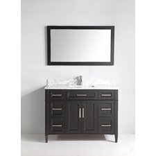 "Carrara Marble 48"" Single Bathroom Vanity with Mirror"