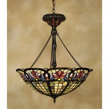 Hyacinth 3-Light Tiffany Inverted Pendant