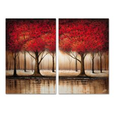 'Autumn Trees' 2 Piece Painting Print Set on Wrapped Canvas