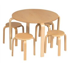 Natural Anrey Kids 5 Piece Table and Stool Set