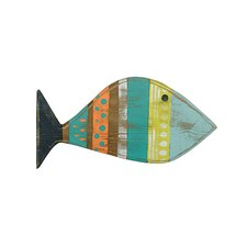 Reclaimed Wood Hand-Painted Fish Wall Décor