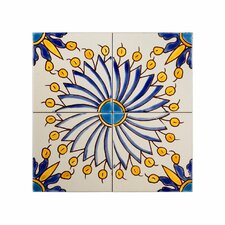 mediterranean 4 x 4 ceramic sicily blue decorative tile in yellowblue - Decorative Tile