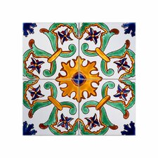 "Mediterranean 6"" x 6"" Ceramic Sicily Decorative Tile in Green/Yellow/Blue"