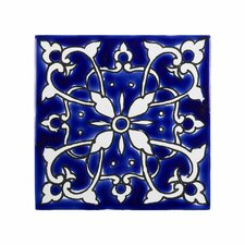 mediterranean 4 x 4 ceramic azur decorative tile in - Decorative Tile