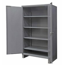 Extra Heavy Duty Welded 12 Gauge Steel Pegboard and Shelf Cabinet