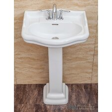 "Roosevelt 22"" Pedestal Bathroom Sink with Overflow"