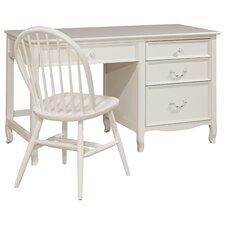 Lilia Large Wood Pedestal Desk with 4 Drawers