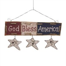 """Wooden """"God Bless America"""" Star Patriotic Sign Wall Décor"""