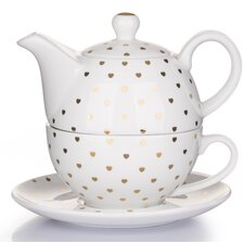 3 Pieces Porcelain Gold Heart Teapot Set