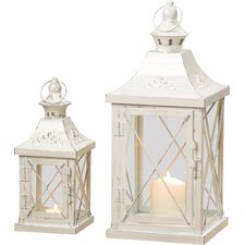 Odile 2 Piece Iron/Glass Lantern Set