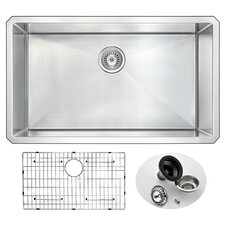 "Vanguard 32"" x 19"" Single Bowl Undermount Kitchen Sink with Drain Assembly"