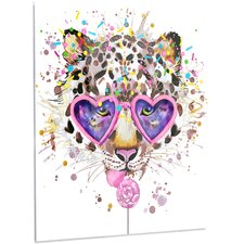 'Funny Leopard with Heart Glasses' Graphic Art on Metal