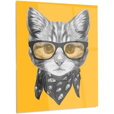 'Funny Cat with Glasses and Scarf' Graphic Art on Metal