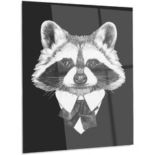 'Funny Raccoon in Suit and Tie' Graphic Art on Metal