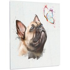 'Funny French Dog with Butterfly' Graphic Art on Metal