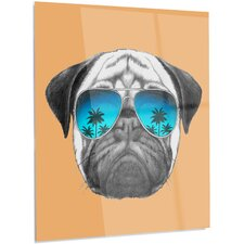 'Funny Dog with Blue Glasses' Graphic Art on Metal