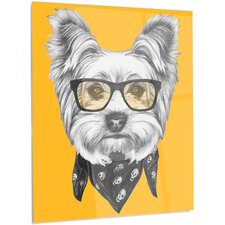 'Funny Terrier Dog with Glasses' Graphic Art on Metal