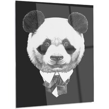 'Funny Panda in Suit and Tie' Graphic Art on Metal