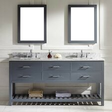 "Caroline Estate 73"" Double Bathroom Vanity Set with White Marble Top and Mirror"