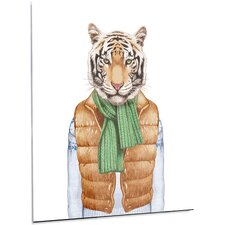 'Tiger in Vest and Sweater' Graphic Art on Metal