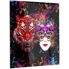 'Tiger and Woman Colorful Faces' Graphic Art on Metal