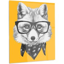 'Funny Fox with Formal Glasses' Graphic Art on Metal