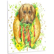 'Funny Dog inside Sandwich' Graphic Art on Metal