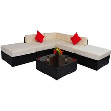 Sollars Outdoor Rattan Wicker 6 Piece Seating Group with Cushions