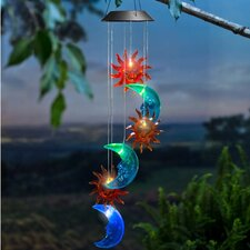 Solar Sun and Moon Mobile Wind Chime
