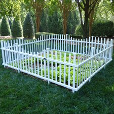 7.8' x 7.6' Pet or Garden Vinyl Enclosure Picket Fence with Gate