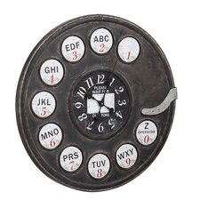 Oversized 76cm Rotary Phone Metal Wall Clock